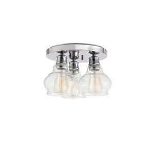 Schoolhouse Chrome Three-Light Flush Mount
