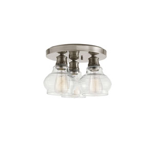 Schoolhouse Classic Pewter Three-Light Flush Mount