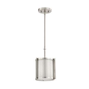 Perforated Brushed Nickel One-Light Mini Pendant