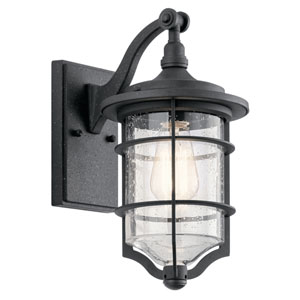 Royal Marine Distressed Black 7-Inch One-Light Outdoor Wall Light