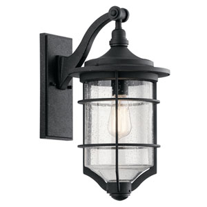 Royal Marine Distressed Black 10-Inch One-Light Outdoor Wall Light