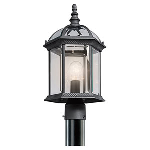 New Street USA Black One-Light Outdoor Post Mount