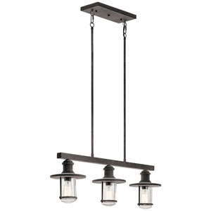 Riverwood Weathered Zinc 8-Inch Three-Light Outdoor Pendant