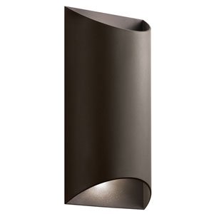 Wesly Textured Architectural Bronze 14-Inch LED Outdoor Wall Sconce
