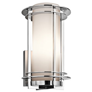 Pacific Edge Polished Stainless Steel Outdoor Wall Mounted Light - Width 9.5 Inches