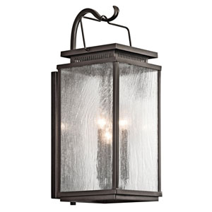 Manningham Olde Bronze Three Light Medium Outdoor Wall Sconce