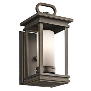 South Hope 11.75-Inch Tall Rubbed Bronze Outdoor Wall Light