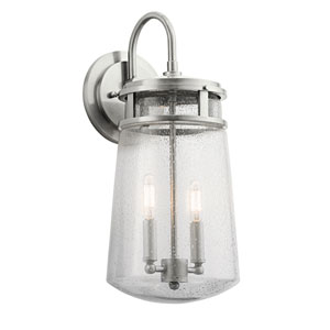 Lyndon Brushed Aluminum Two-Light Outdoor Wall Sconce