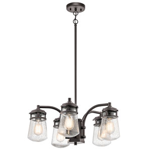 Lyndon Architectural Bronze Five-Light Chandelier