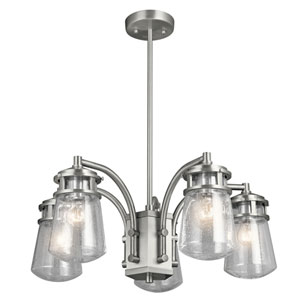 Lyndon Brushed Aluminum 24-Inch Five-Light Outdoor Pendant