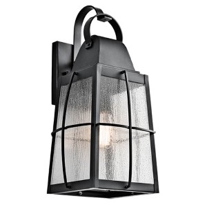 Tolerand Textured Black One-Light Large Outdoor Wall Sconce