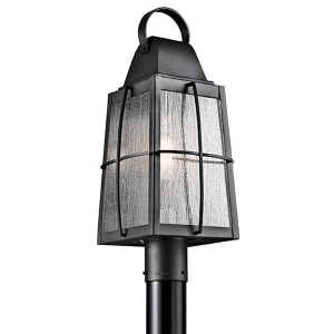 Tolerand Textured Black One-Light Outdoor Post Mount