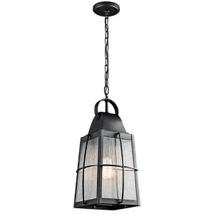Tolerand Textured Black One-Light Outdoor Hanging Pendant