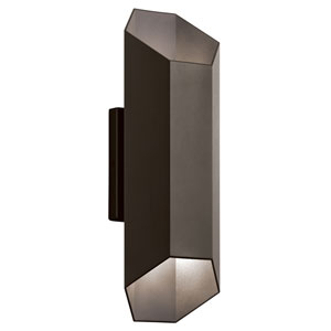 Estella Textured Architectural Bronze Two-Light LED Outdoor Wall Sconce