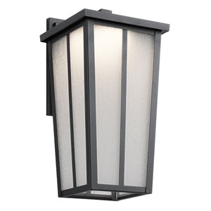 Amber Valley Textured Black 7.5-Inch One-Light Outdoor LED Wall Mount
