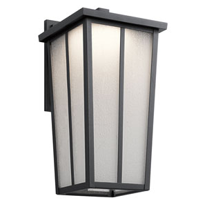Amber Valley Textured Black 9-Inch One-Light Outdoor LED Wall Mount