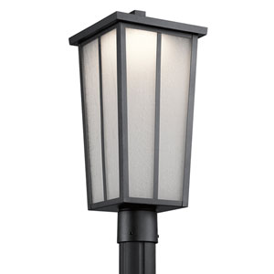 Amber Valley Textured Black One-Light Outdoor LED Post Lantern