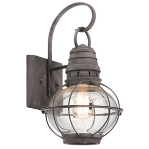 Bridge Point Weathered Zinc 9-Inch One-Light Outdoor Wall Mount