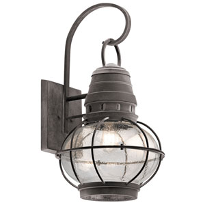 Bridge Point Weathered Zinc 14-Inch One-Light Outdoor Wall Mount
