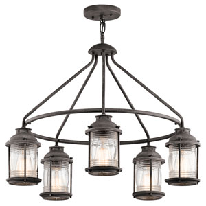 Ashland Bay Weathered Zinc Five-Light Chandelier