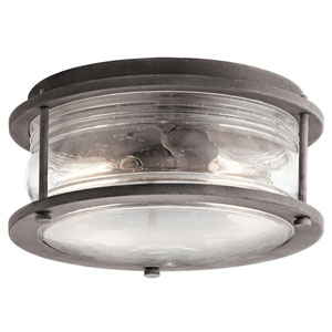 Ashland Bay Weathered Zinc Two-Light Outdoor Flush Mount