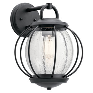 Vandalia Textured Black 11-Inch One-Light Outdoor Wall Light