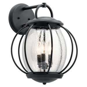 Vandalia Textured Black 14-Inch Three-Light Outdoor Wall Light