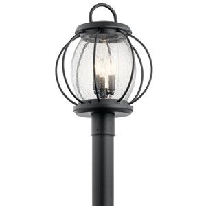 Vandalia Textured Black 14-Inch Three-Light Outdoor Post Lantern
