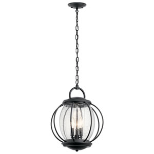 Vandalia Textured Black 14-Inch Three-Light Outdoor Hanging Pendant