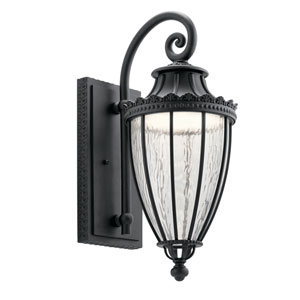 Wakefield Textured Black 9-Inch LED Outdoor Wall Light