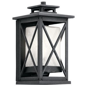 Piedmont Distressed Black 7-Inch One-Light Outdoor Wall Light