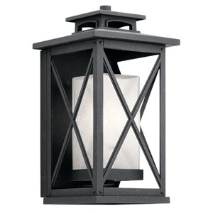 Piedmont Distressed Black 8-Inch One-Light Outdoor Wall Light