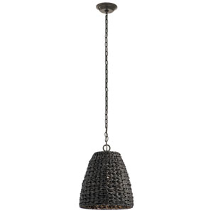 Palisades Olde Bronze 13-Inch One-Light Outdoor Hanging Pendant with Chestnut Shade