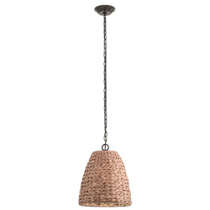 Palisades Olde Bronze 13-Inch One-Light Outdoor Hanging Pendant with Natural Shade
