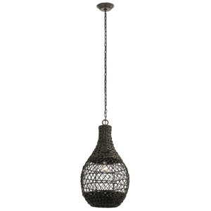 Palisades Olde Bronze 14-Inch One-Light Outdoor Hanging Pendant with Chestnut Shade