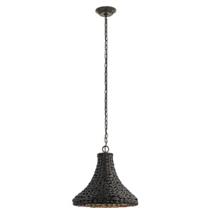 Palisades Olde Bronze 16-Inch One-Light Outdoor Hanging Pendant with Chestnut Shade