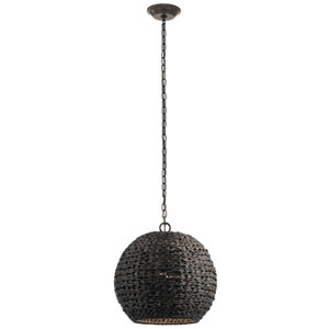Palisades Olde Bronze 17-Inch One-Light Outdoor Hanging Pendant with Chestnut Shade
