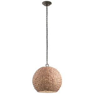 Palisades Olde Bronze 17-Inch One-Light Outdoor Hanging Pendant with Natural Shade