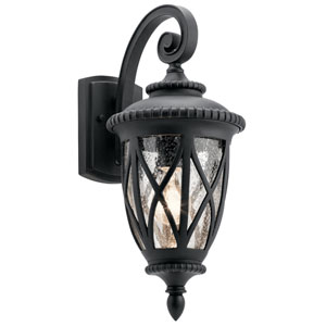 Admirals Cove Textured Black 8-Inch One-Light Outdoor Wall Light