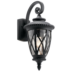 Admirals Cove Textured Black 10-Inch One-Light Outdoor Wall Light