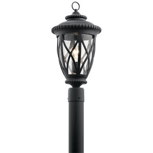 Admirals Cove Textured Black 10-Inch One-Light Outdoor Post Lantern