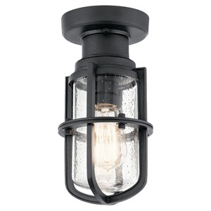 Suri Textured Black Outdoor Semi Flush Mount