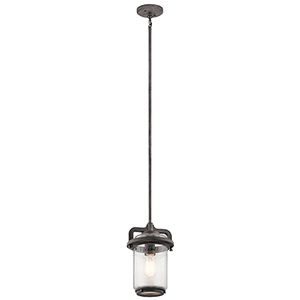 Andover Weathered Zinc 8-Inch One-Light Outdoor Hanging Mini Pendant