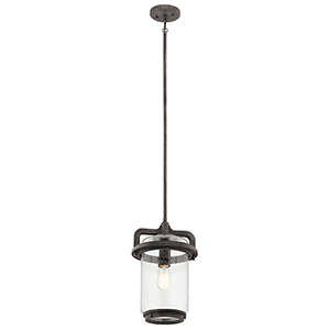 Andover Weathered Zinc 10-Inch One-Light Outdoor Hanging Mini Pendant
