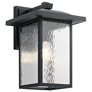 Capanna Textured Black 11-Inch One-Light Extra Large Outdoor Wall Light