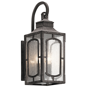 Bay Village Weathered Zinc 7-Inch Two-Light Small Outdoor Wall Light