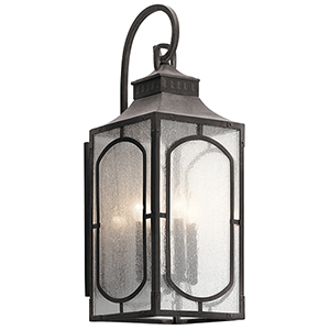 Bay Village Weathered Zinc 10-Inch Four-Light Large Outdoor Wall Light