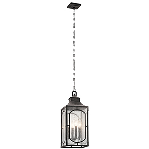 Bay Village Weathered Zinc 10-Inch Four-Light Outdoor Hanging Mini Pendant