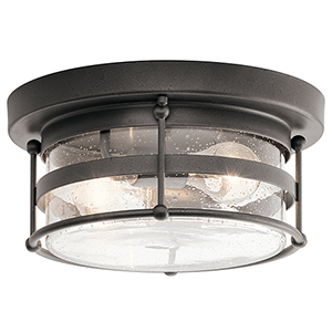 Mill Lane Anvil Iron 12-Inch Two-Light Outdoor Flush and Semi Flush Mount