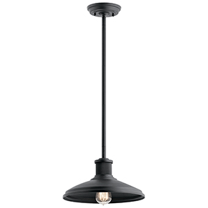 Allenbury Textured Black 12-Inch One-Light Pendant and Semi-Flush Mount
